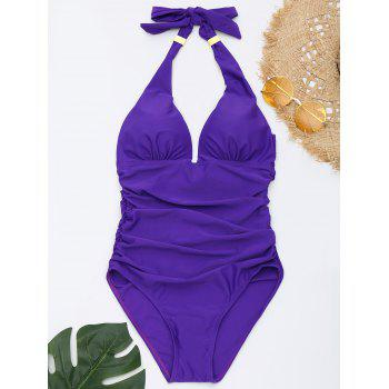 One Piece Ruched Halter Swimsuit - PURPLE PURPLE