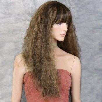 Long Full Bang Colormix Fluffy Wavy Synthetic Wig - LIGHT BROWN