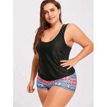 Plus Size Printed Strappy Three-Piece Swimsuit - COLORMIX COLORMIX