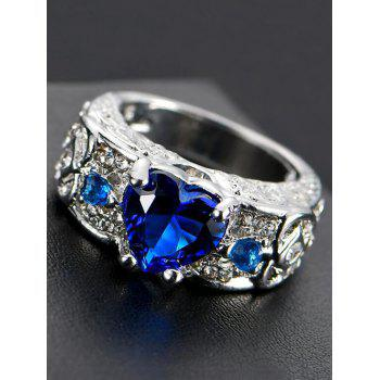 Faux Gem Heart Engraved Finger Ring - ROYAL 9