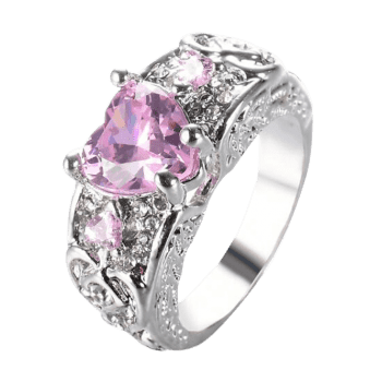 Faux Gem Heart Engraved Finger Ring - PINK 10