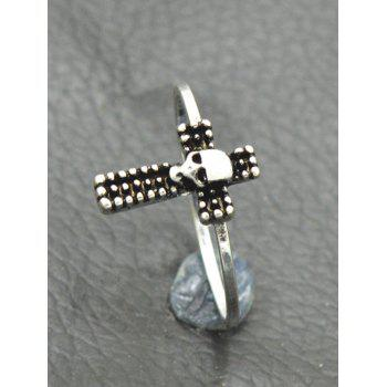 Gothic Skull Crucifix Finger Ring - SILVER 8