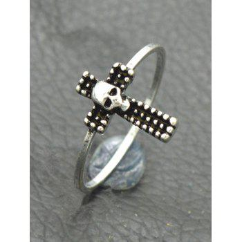 Gothic Skull Crucifix Finger Ring - SILVER SILVER