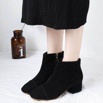 Chunky Heel Squared Toe Ankle Boots - BLACK 39