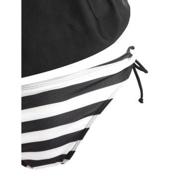 Double Straps Striped Cross Back Tankini - WHITE/BLACK L