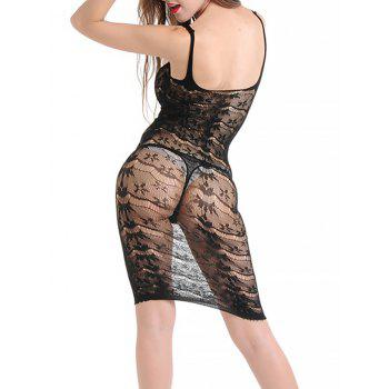 Lingerie Knee Length Fishnet Slip Dress - BLACK ONE SIZE