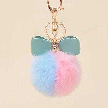 Rhinestone Bows Two Tone Fuzzy Ball Keychain - BLUE PINK BLUE PINK