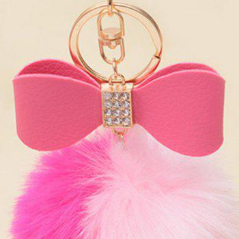 Rhinestone Bows Two Tone Fuzzy Ball Keychain - ROSE RED