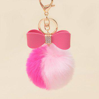Rhinestone Bows Two Tone Fuzzy Ball Keychain - ROSE RED ROSE RED