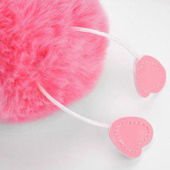 Cute Fuzzy Ball Flamingo Heart Keychain - ROSE RED