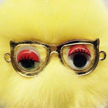 Faux Fur Glasses Eyes Ball Cute Keychain -  YELLOW
