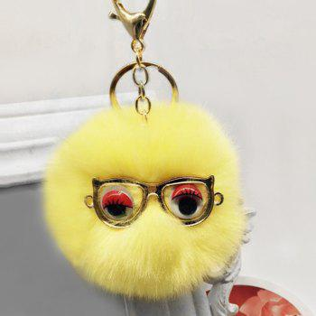 Faux Fur Glasses Eyes Ball Cute Keychain - YELLOW YELLOW