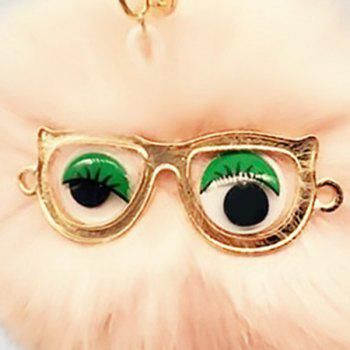 Faux Fur Glasses Eyes Ball Cute Keychain - PINK