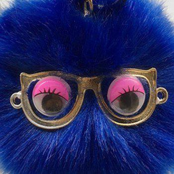 Faux Fur Glasses Eyes Ball Cute Keychain - ROYAL