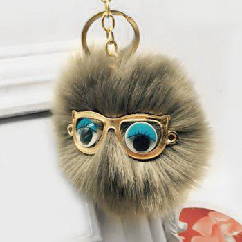 Faux Fur Glasses Eyes Ball Cute Keychain - GRAY GRAY