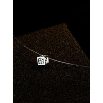 Sparkly Rhinestone Cube Collarbone Necklace - SILVER
