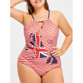 Plus Size Striped Map Print Halter Swimwear - US FLAG US FLAG