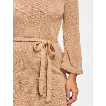 Knitted Off The Shoulder Mini Dress - KHAKI L