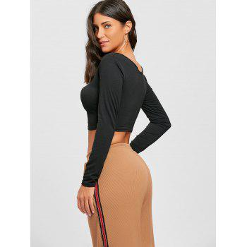 V Neck Long Sleeve Crop Top - BLACK M