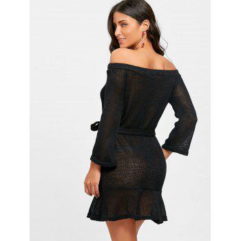 Knitted Off The Shoulder Mini Dress - BLACK L