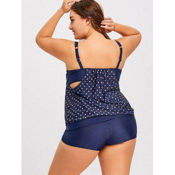 Polka Dot Blouson Plus Size Tankini Swimsuit - CERULEAN 3XL