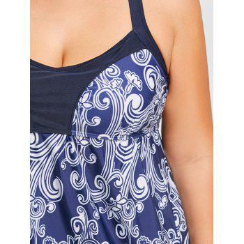 Plus Size Floral Print Halter Tankini Set - PURPLISH BLUE 3XL