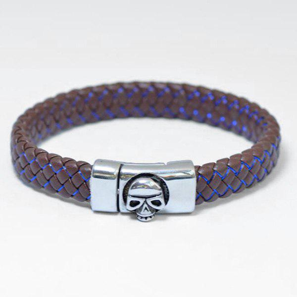 Skull Pattern Magnet Buckle PU Leather Bracelet - BLUE / BROWN