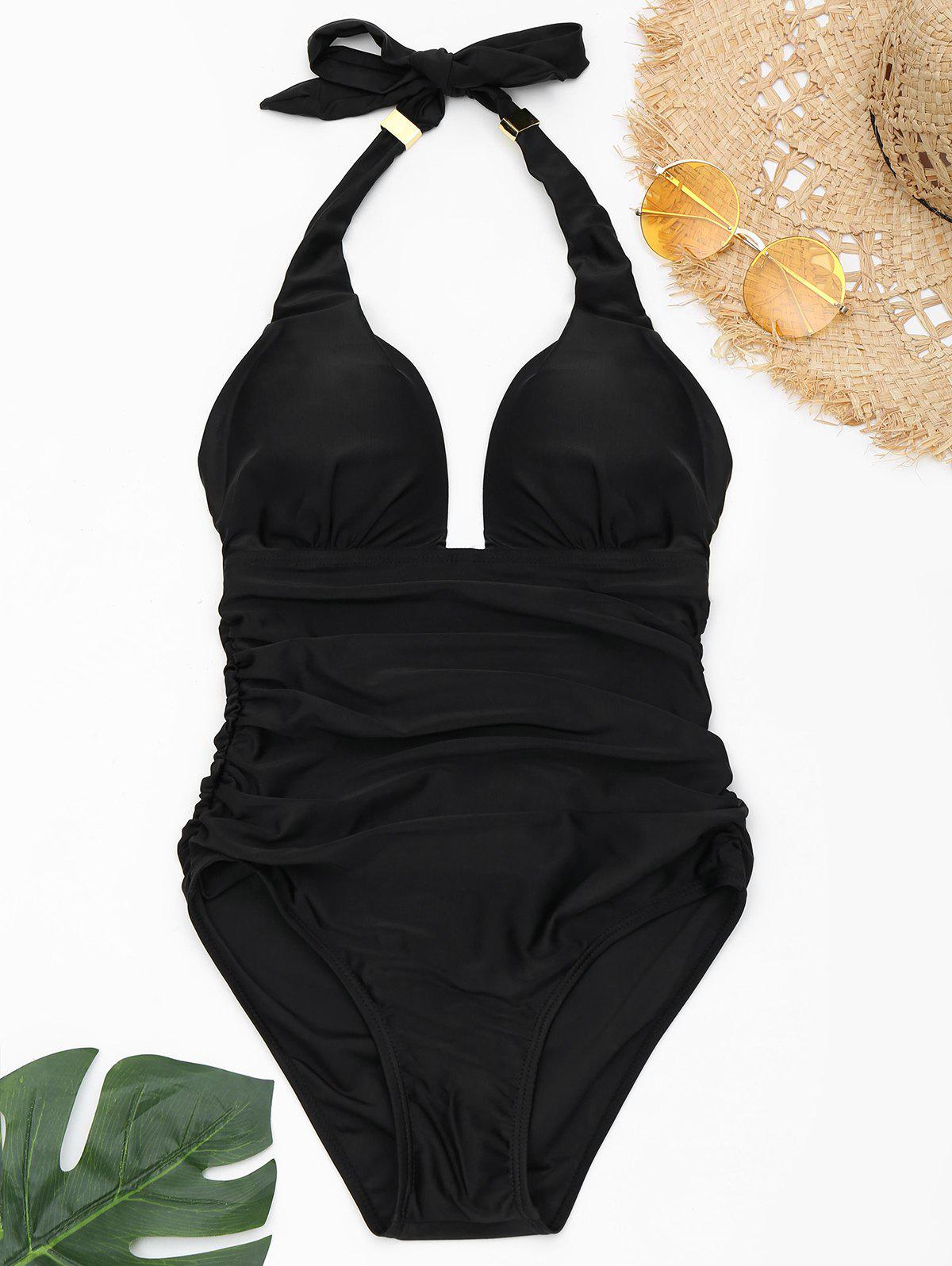 One Piece Ruched Halter Swimsuit - BLACK M