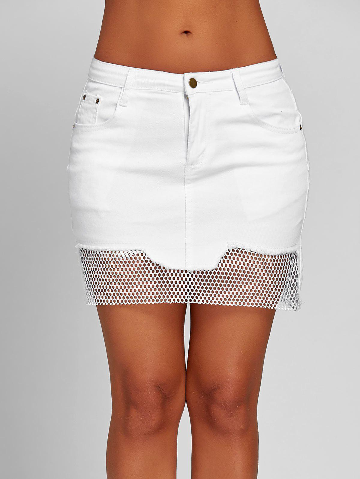 A-line Fishnet Panel Mini Skirt - WHITE S