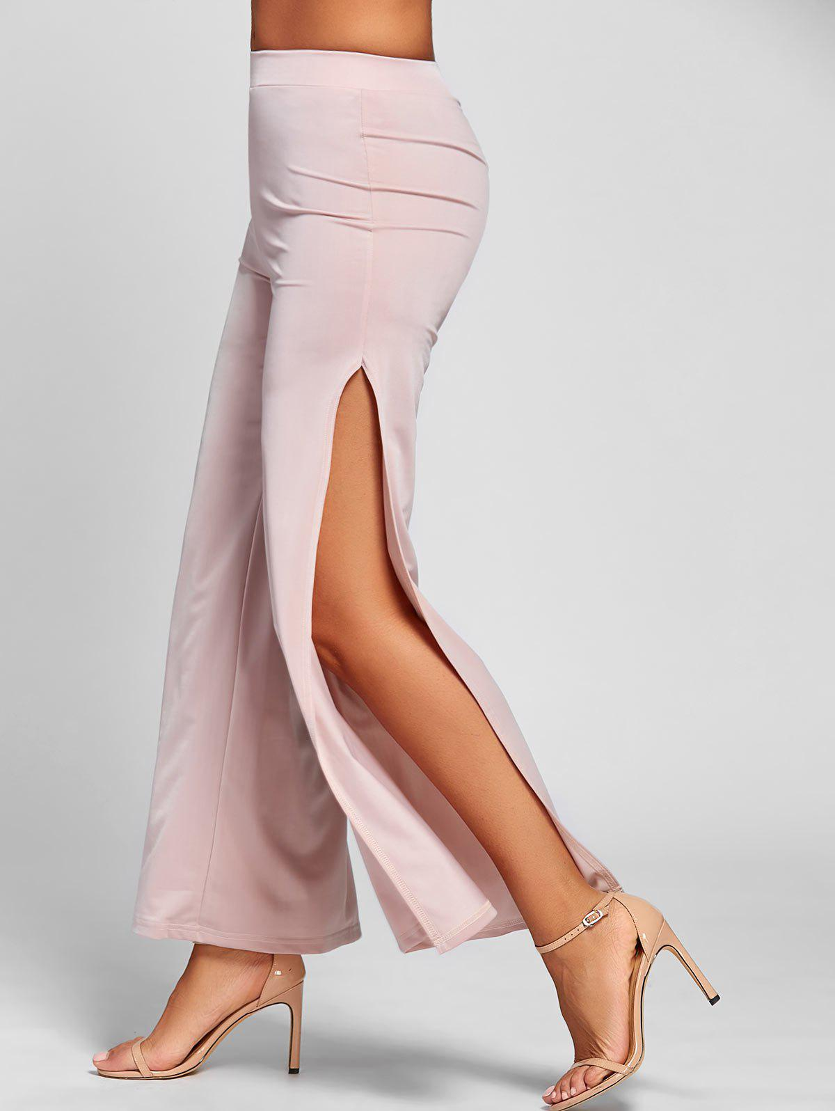 Elastic Waist Wide Leg High Slit Pants - PINK XL