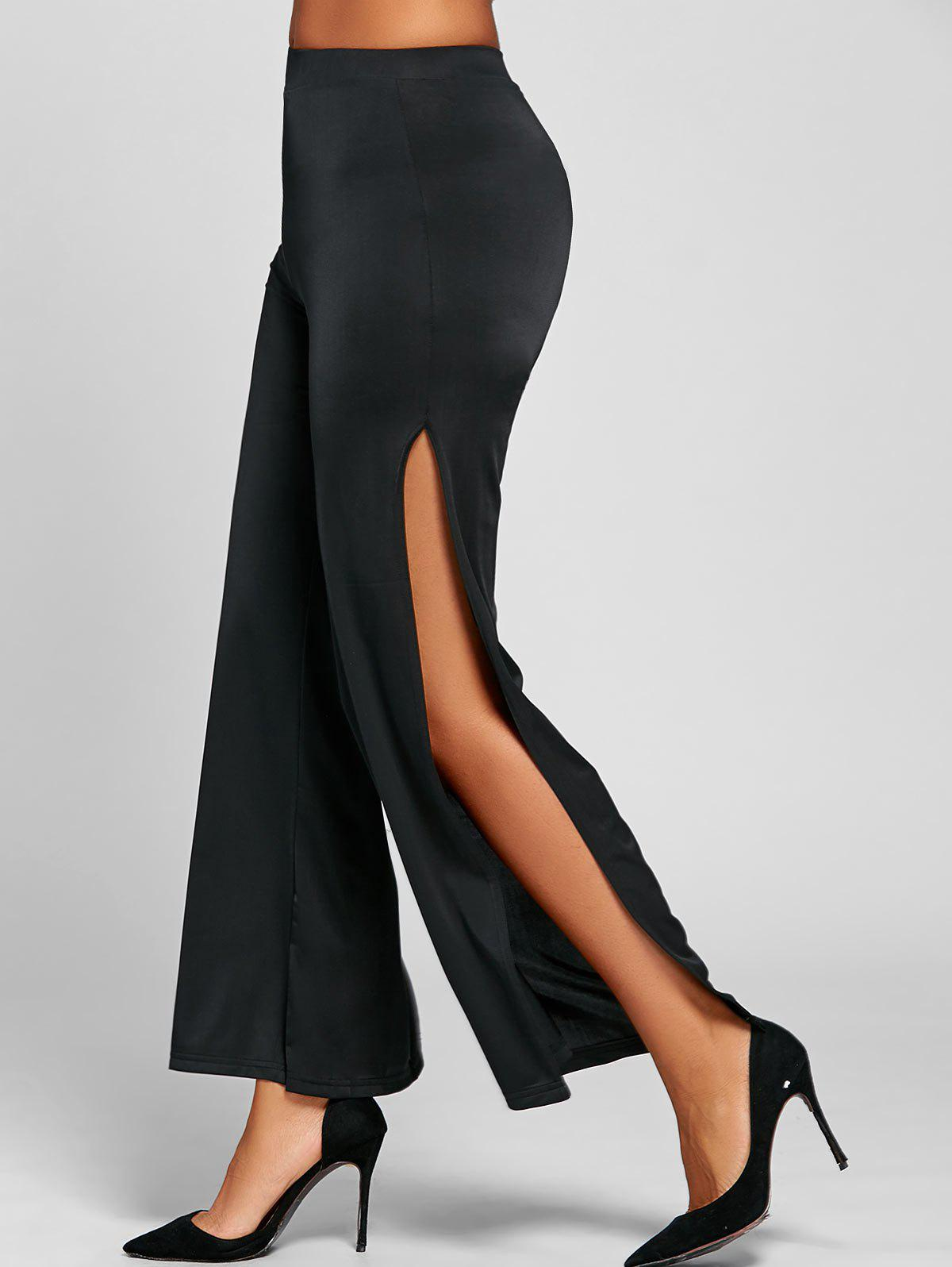 Elastic Waist Wide Leg High Slit Pants - BLACK M