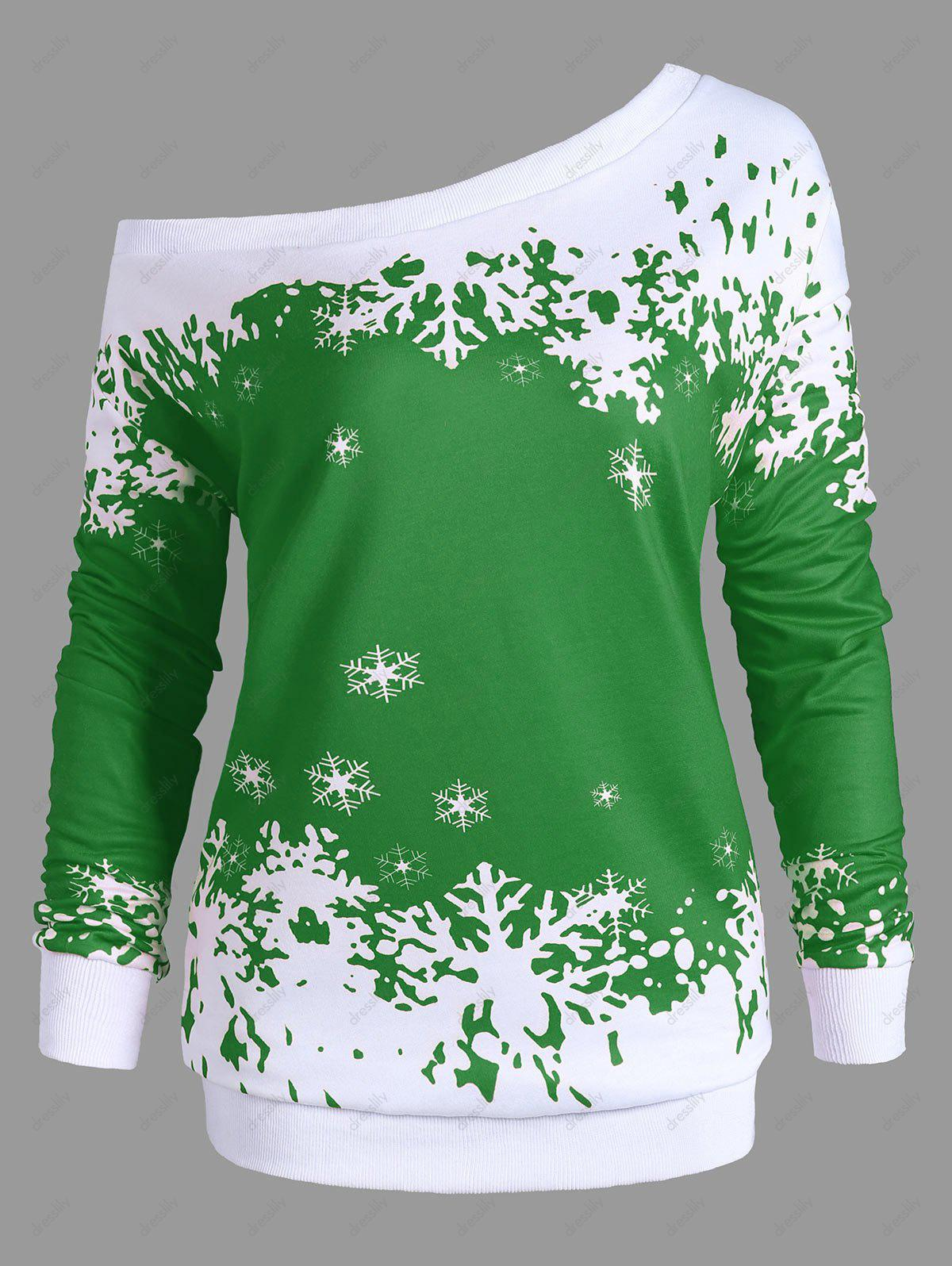 Plus Size Skew Neck Christmas Snowflake Sweatshirt plus size christmas reindeer skew collar sweatshirt