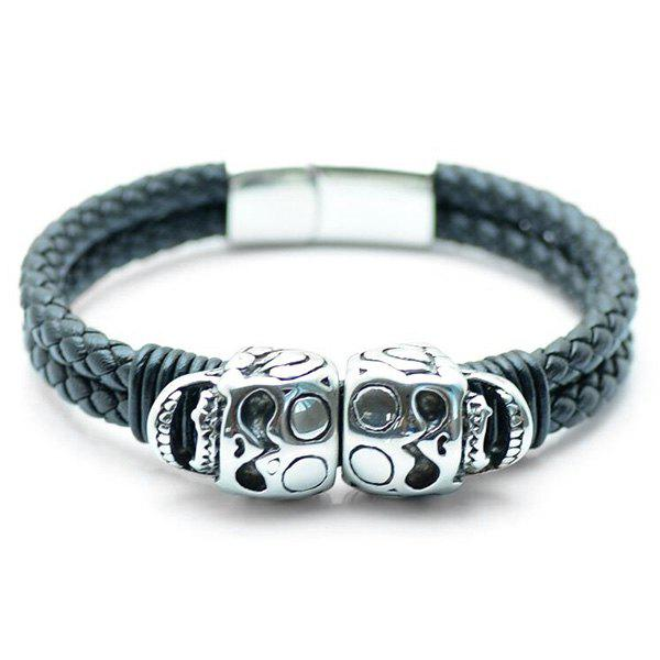 Metal Twin Skull PU Leather Bracelet gothic skull hand pu leather bracelet black silver