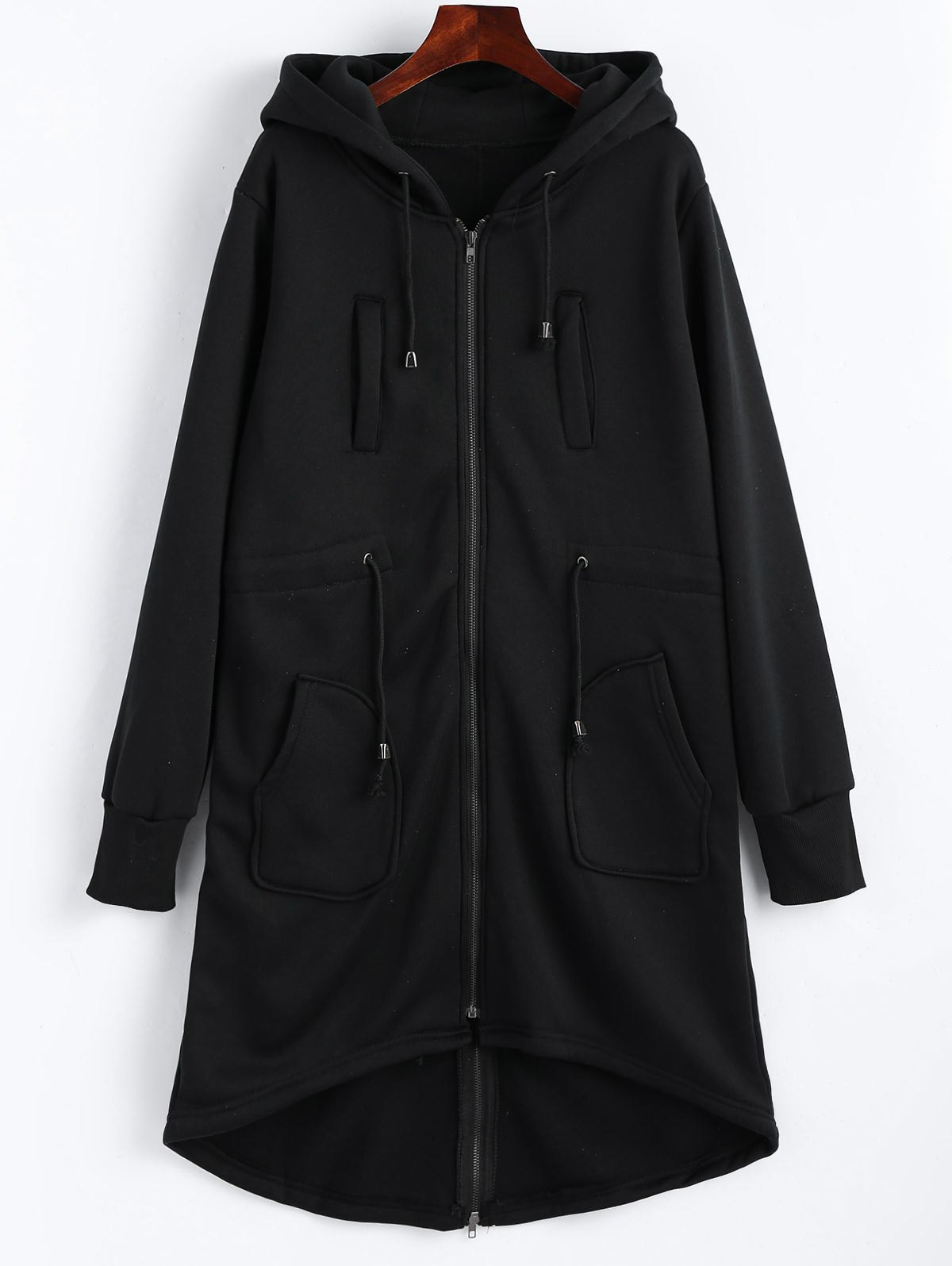 Drawstring Long Plus Size Hooded Coat - BLACK ONE SIZE