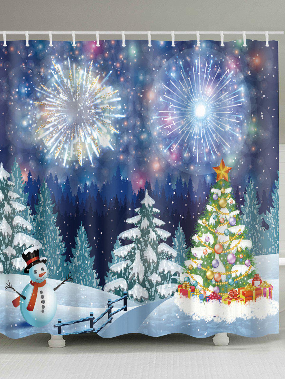 Christmas Forest Firework Print Waterproof Fabric Shower Curtain christmas snowy santa sleigh print fabric waterproof shower curtain
