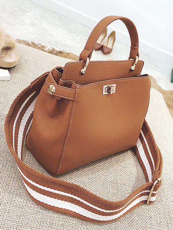 Faux Leather Top Handle Stitching Handbag - BROWN