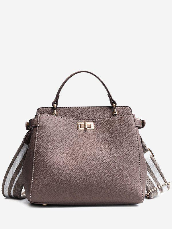 Sac à main en cuir Faux Top Handle - Gris