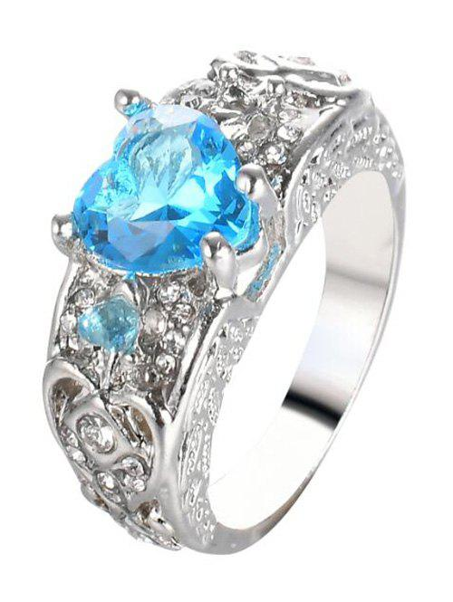 Faux Gem Heart Engraved Finger Ring - WINDSOR BLUE 10