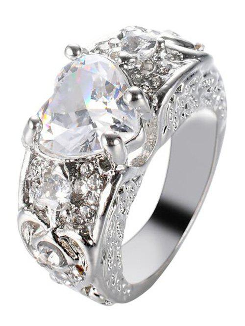 Faux Gem Heart Engraved Finger Ring - WHITE 6