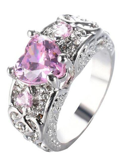 Faux Gem Heart Engraved Finger Ring - PINK 7