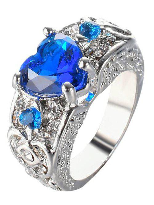 Faux Gem Heart Engraved Finger Ring - ROYAL 8