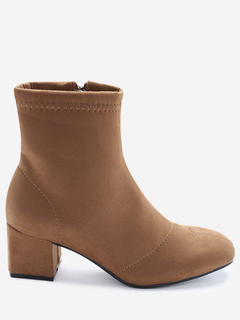 Faux Suede Square Toe Ankle Boots - SUGAR HONEY 38