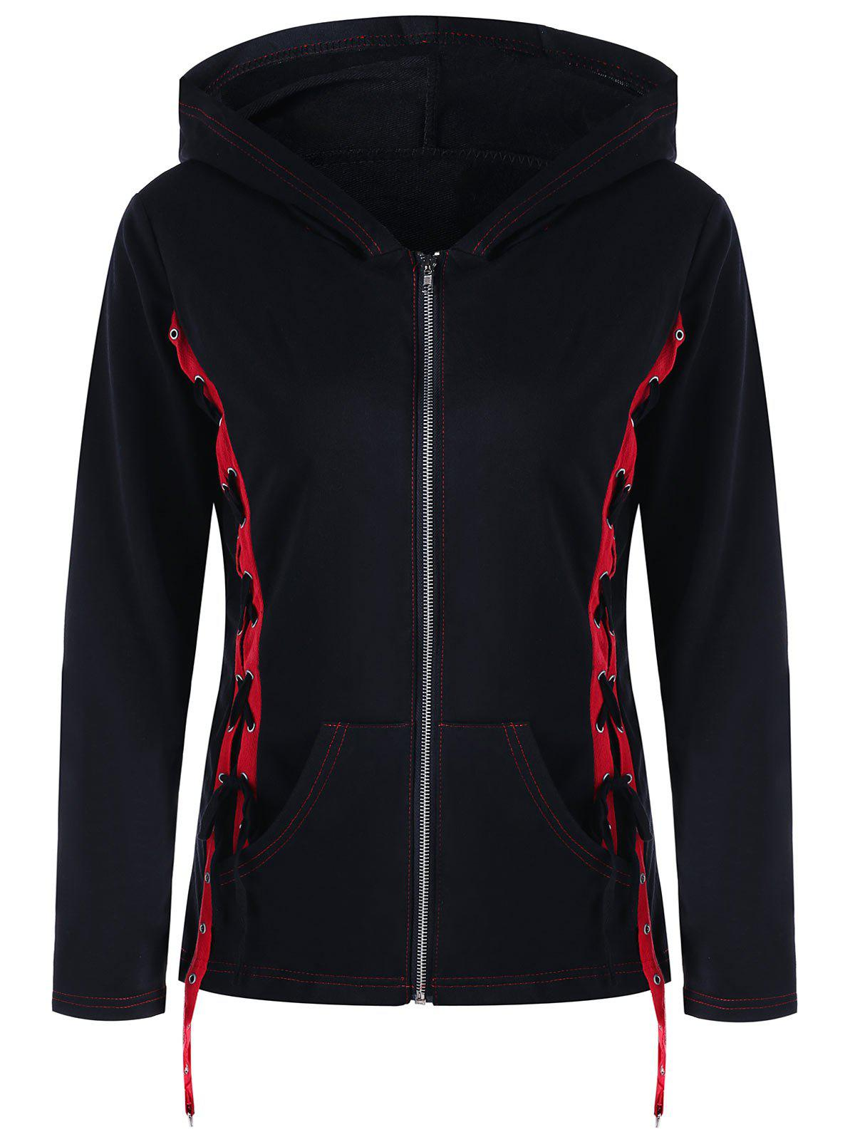 Side Lace Up Zip Up Hoodie lace up hoodie