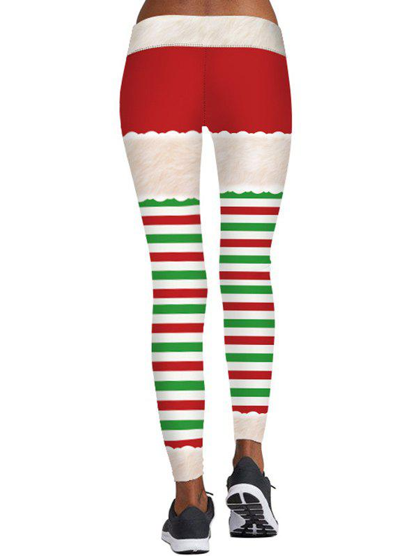 Striped Berry Print Christmas Skinny Leggings - COLORMIX 2XL