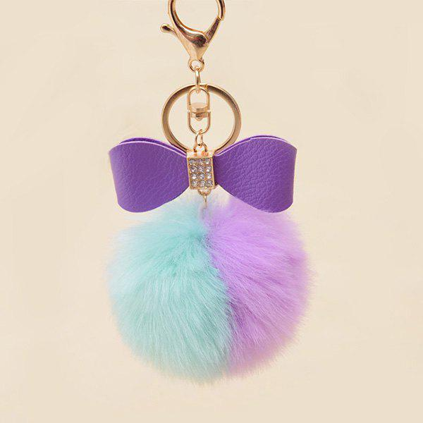 Rhinestone Bows Two Tone Fuzzy Ball Keychain - GREEN