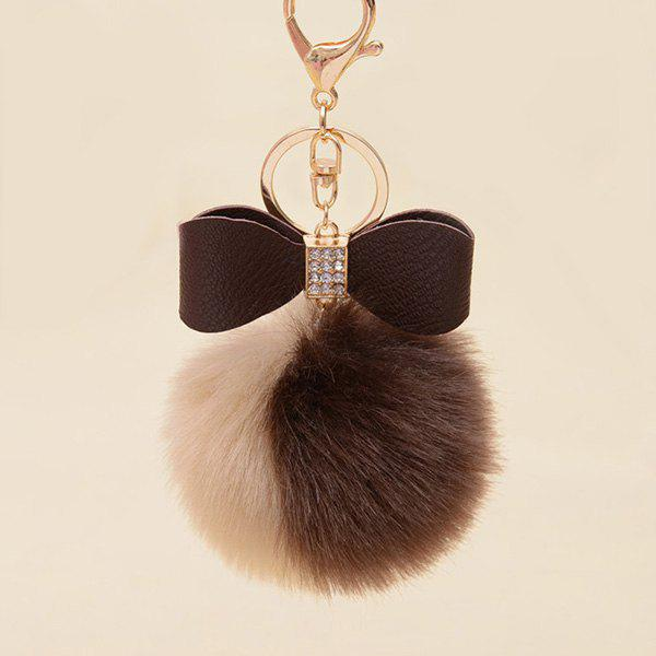 Rhinestone Bows Two Tone Fuzzy Ball Keychain - COFFEE