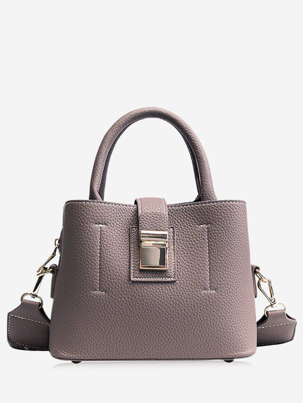 Top Handle PU Leather Handbag With Strap - GRAY
