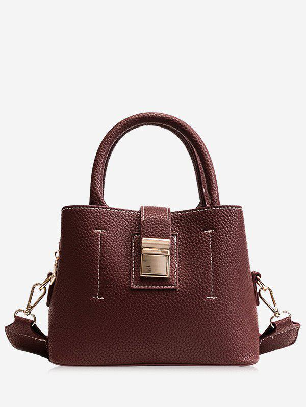 Top Handle PU Leather Handbag With Strap - PURPLISH RED