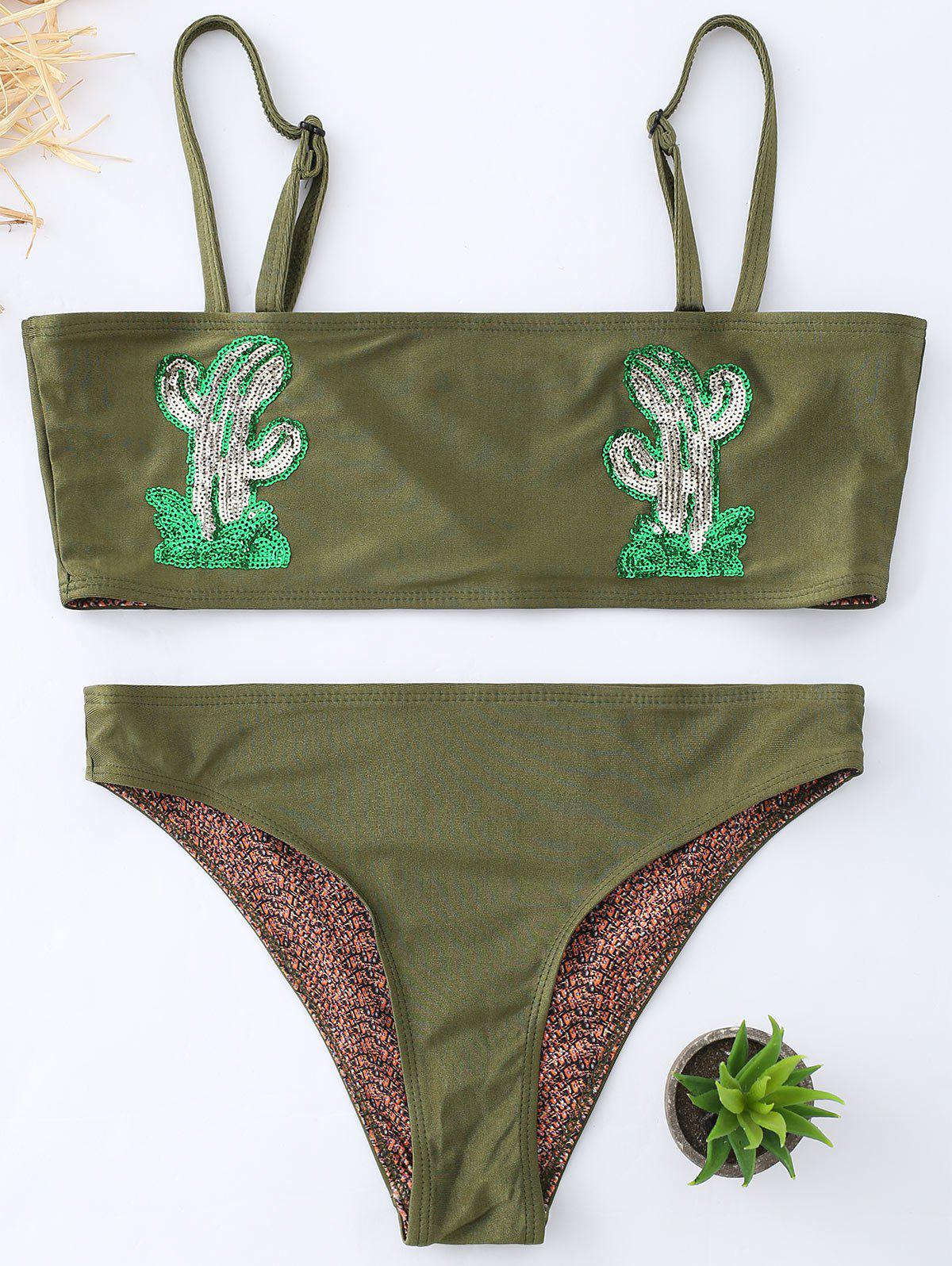 Cactus Graphic Bandeau Bikini Swimwear - BLACKISH GREEN M
