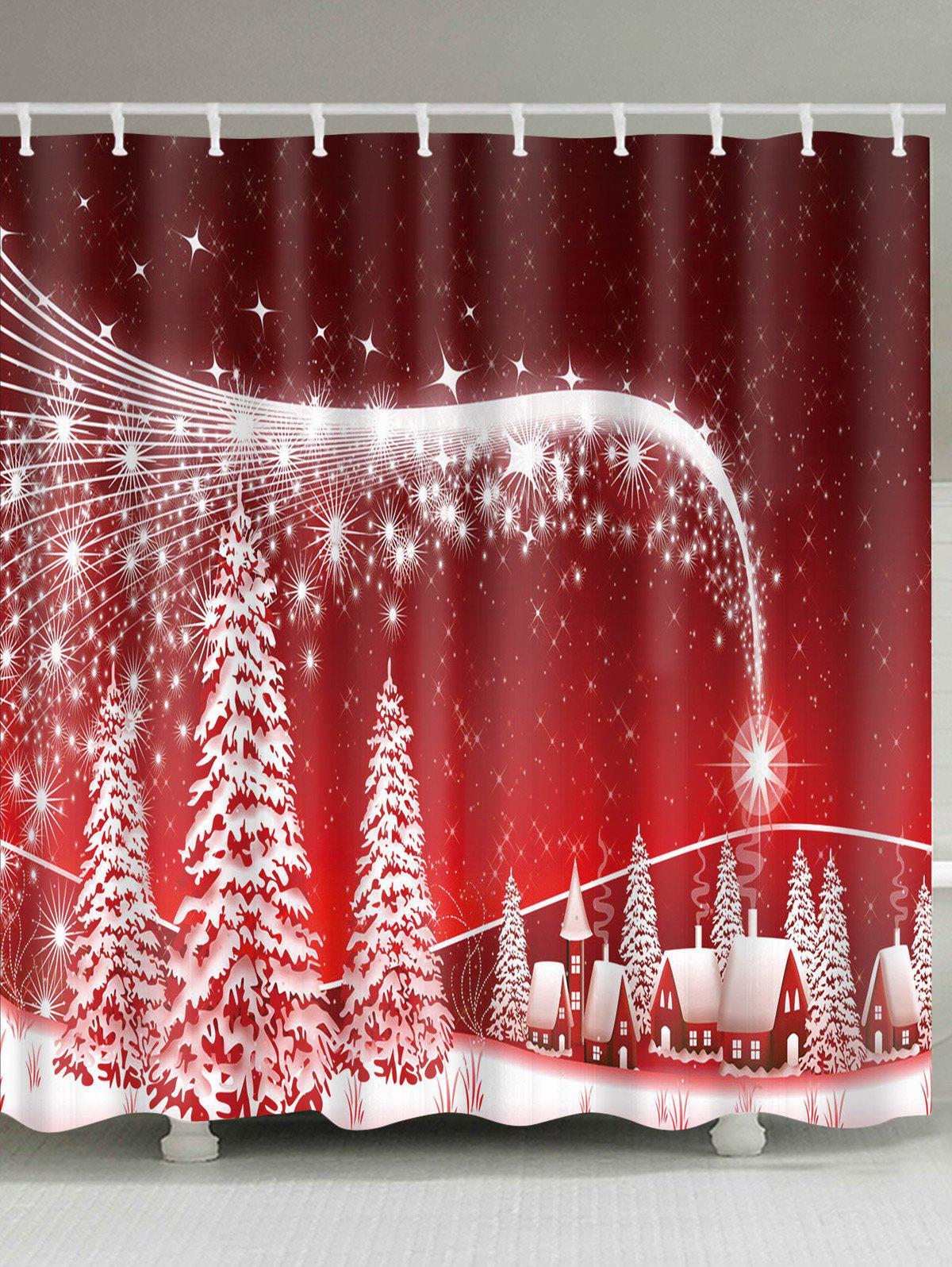 Christmas Snowscape Print Polyester Waterproof Shower Curtain waterproof polyester snowman christmas shower curtain